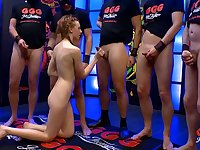 Sweet redhead gives up every hole in a gangbang