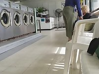 Creep Shots girl next door type at laundry room nice ass