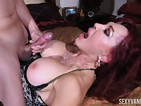 young dude gets his penis blowed by his horny milf friend Sexy Vanessa
