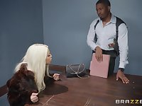 Bridgette B, gets her pussy pounded by her horny boyfriend on the table