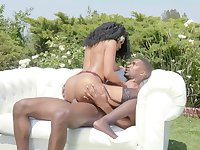 Backyard boning with a black hottie riding his cock