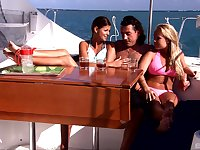 Threesome on the boat is amazing adventure for pretty Jessica Moore