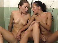 After a shower Eveline Dellai gets her pussy pleased by Valerie Fox