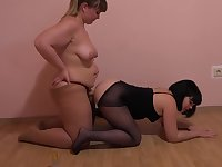 BBW lesbian ass licking her friend and fuck her in the ass strapon.
