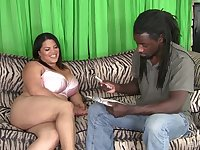 BBW Lady Spice gives her head and gets her plump pussy banged by horny BBC