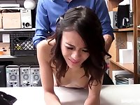 A horny store detective punishes an Asian coed for shoplifting in his own way