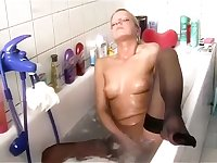 Mature blond shower