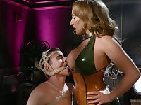 Bodacious mistress Richelle Ryan fucks anus of tied up submissive and sits on his face