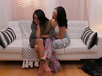 Torrid lesbian Holly Hendrix is eating tasty pussy of naughty girlfriend