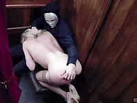 Kinky blonde whore Tamara Grace cum sprayed in a church
