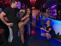 Several well endowed dudes fuck tied up black hooker Nikki Darling